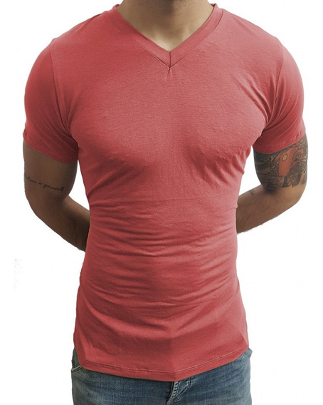 Kit 3 Camisa Camiseta Masculina Slim Fit Gola V Original