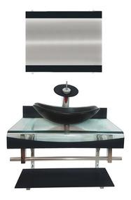 Gabinete Vidro 60cm P/ Banheiro Andorra Cores + Misturador