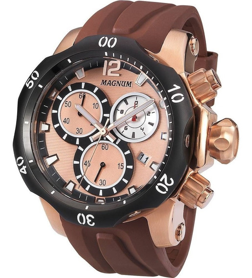 Relógio Magnum Masculino Ma33755z Rose Marrom Couro