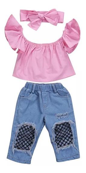 Conjunto Menina Jeans +bata+laço Frete Grátis Tam 3 Rosa
