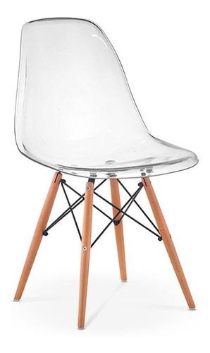 Imagem 1 de 2 de Cadeira Charles Eames Eiffel Wood Policarbonato Transparente