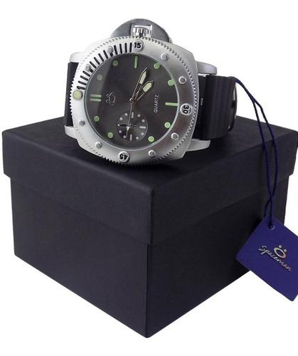 Relógio Masculino Prateado C/ Pulseira De Couro Original