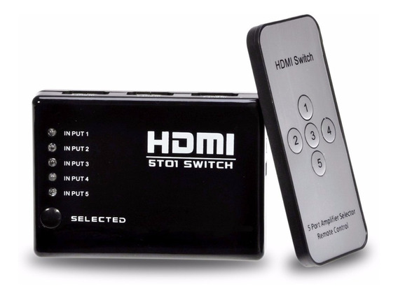 Switch Hdmi 5 Portas Splitter Full Hd Com Controle Remoto