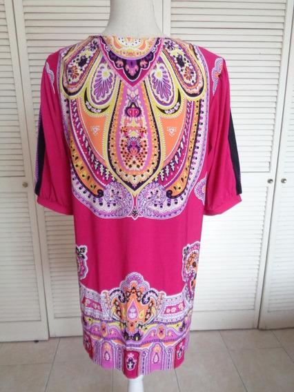 Vestido Corto O Bluson Rosa Fucsia Tribal Etnico Hippie M