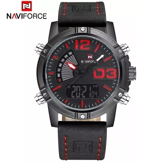 Relógio Masculino Naviforce 9095 Esportivo Couro Marrom Luxo