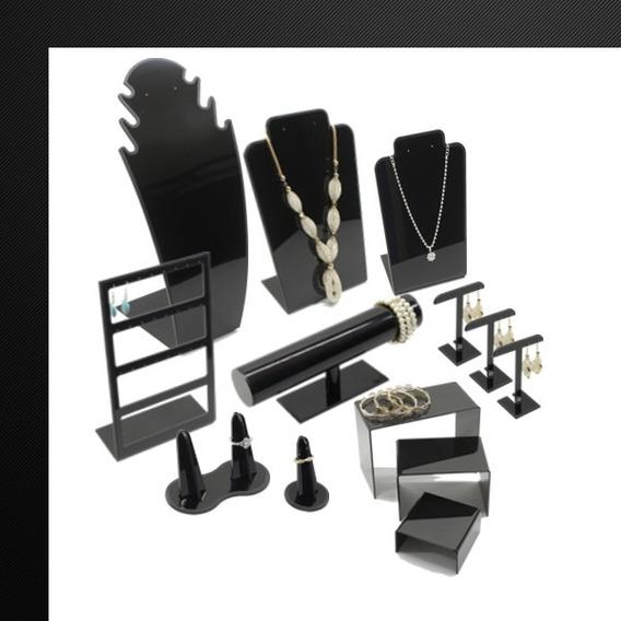 Set Exhibidores Para Joyería En Acrilico Negro