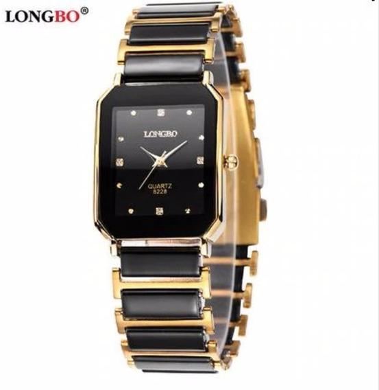Relógio Feminino Black Gold Preto Dourado Quadrado Longbo