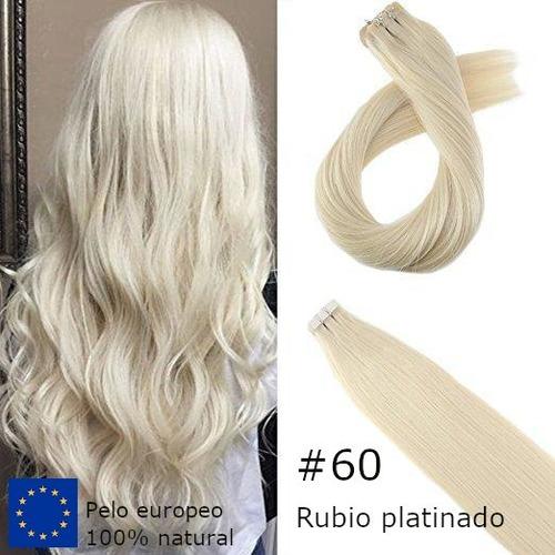 Extensiones Tape De Pelo Humano Color Rubio #60 - 61cm Largo