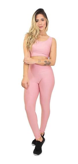 Conjunto Calça Cropped Moda Fitness Academia Verão Feminino