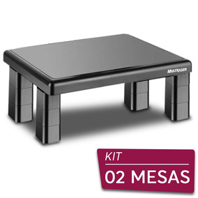 02 Suportes Base Para Monitor De Mesa Quadrado Multilaser