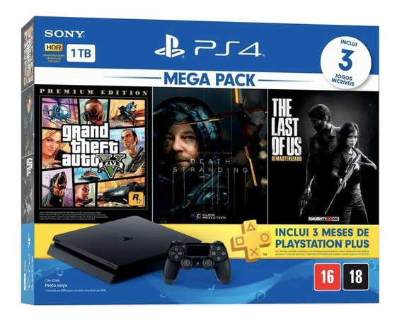 Sony PlayStation 4 Slim 1TB Mega Pack: Grand Theft Auto V Premium Edition/Death Stranding/The Last of Us Remastered jet black