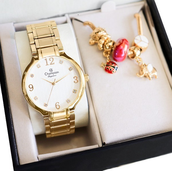 Relógio Champion Feminino Dourado Barato Original Garantia