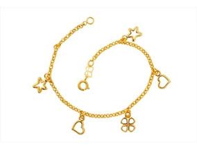 Pulseira Rommanel Com Pingent Estrelas Corações Trevo 550593