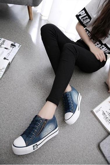 Tênis Plataforma Feminino Jeans Até Tamanho 40
