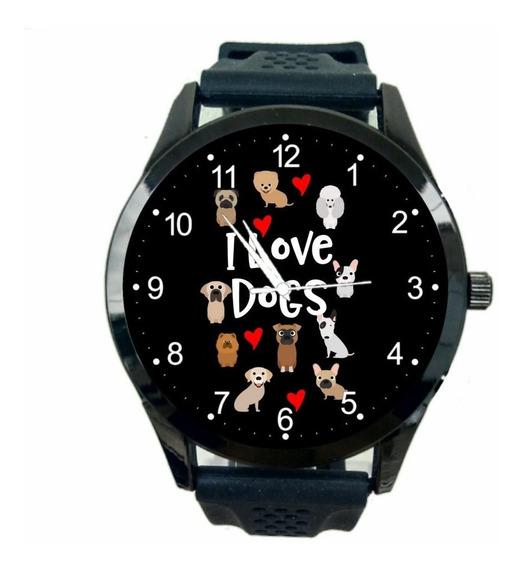 Relógio Eu Amo Cachorros Feminino I Love Dogs De Pulso T958