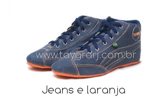 Taygra Botinha Jeans Com Sola Laranja