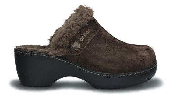Zueco Crocs Cobbler Leather Clog Dama Café