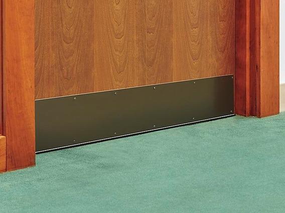 1 Placa De Aluminio Color Bronce De 6x34 Proteccion Puertas