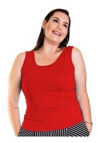 Blusa Roupa Feminina Regata Básica Plus Size Alça Larga +56