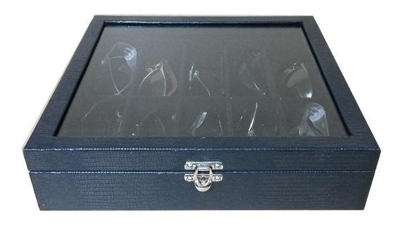 Caixa Maleta Estojo 10 Óculos Couro Ecológico Com Vidro.
