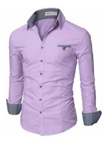 Camisa Social Slim Dubai Detalhe Xadrez Frete Grátis P/ 2 Un