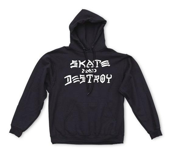 Moletom Thrasher Canguru Skate And Destroy Preto