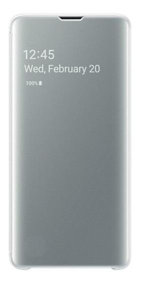 Capa Protetora Clear View Samsung S10 Plus Branca
