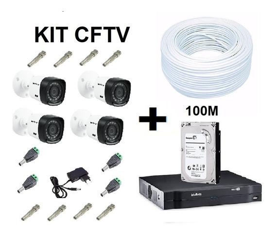 Kit Dvr + Hd + 4 Cameras + Fonte + Cabo