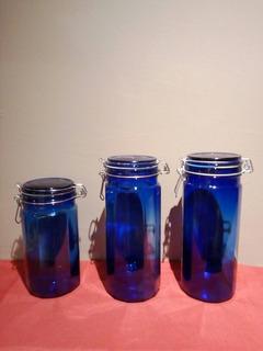 Set De Tres Tarros De Vidrio Azul