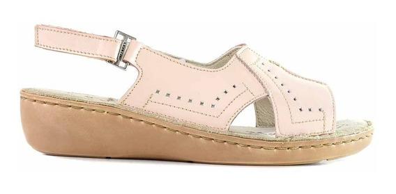 Sandalia Cuero Mujer Cavatini Zapato Negro Taco - Mcsd04578