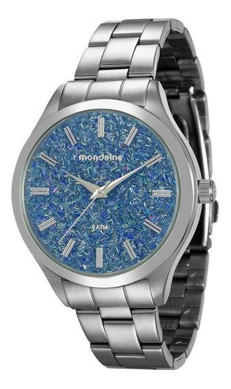 Relógio Feminino Mondaine 76614l0mvne3 Prata C/ Glitter Azul