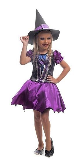 Fantasia Halloween Infantil Bruxa Betsy C/chapéu 3 A 12 Anos