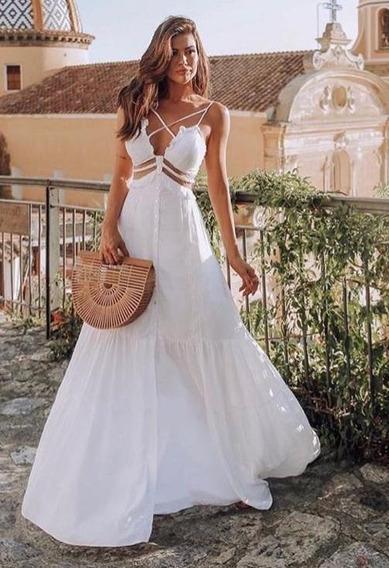 Vestido Longo De Alcinha Off White Perfect Way Tam P E M