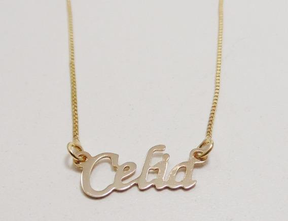 Corrente Folheada A Ouro Com Nome Celia