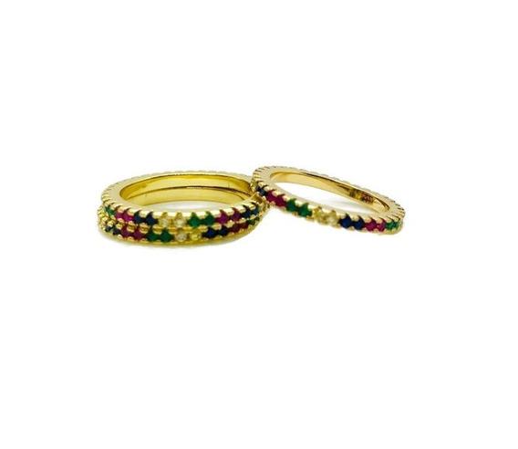 Anillo Churumbela Delgado Rainbow Arcoíris Chapa Oro 14k 1pz