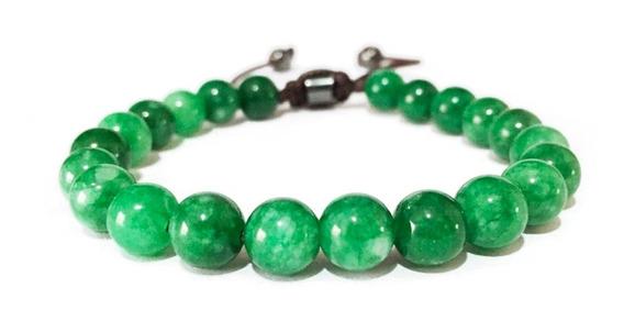 Pulseira Ajustável De Pedras Naturais Jade Imperial Verde