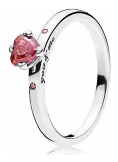 Anel Pandora Feminino I Love You Original Pedra Vermelha Zircônia