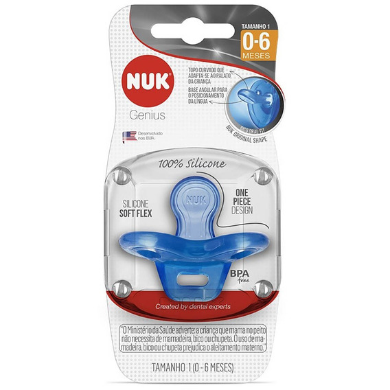 Chupeta 100% Silicone - Boy Azul Nuk