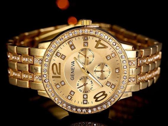 Relógio Feminino Dourado Original Geneva Cristais Brilhantes