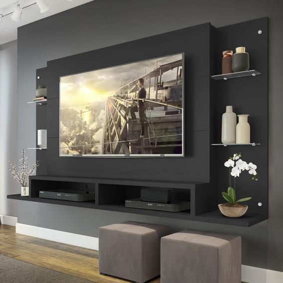Painel Nairóbi Plus Para Tv Ate 60 Preto Acetinado