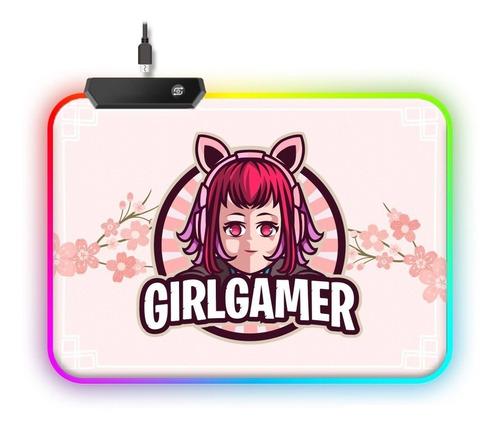 Imagen 1 de 3 de Mousepad Rgb Rosado Pink Girl Gamer Usb Con Luces Mat Pad