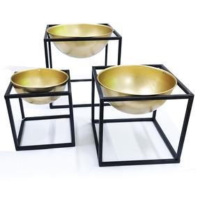 Kit Vaso Dourado Em Metal C/ Suporte 3 Peças - Mart 09407