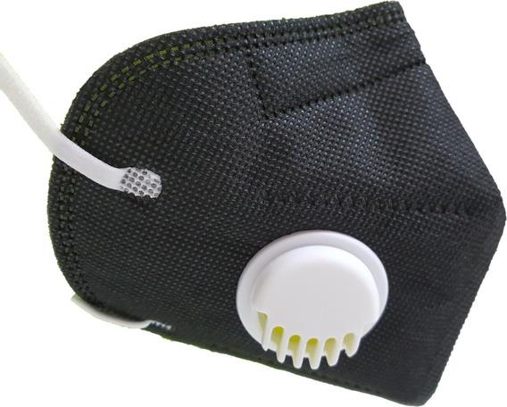 Kn95 Válvula Filtro Mascarilla Respirador Cubrebocas Negro