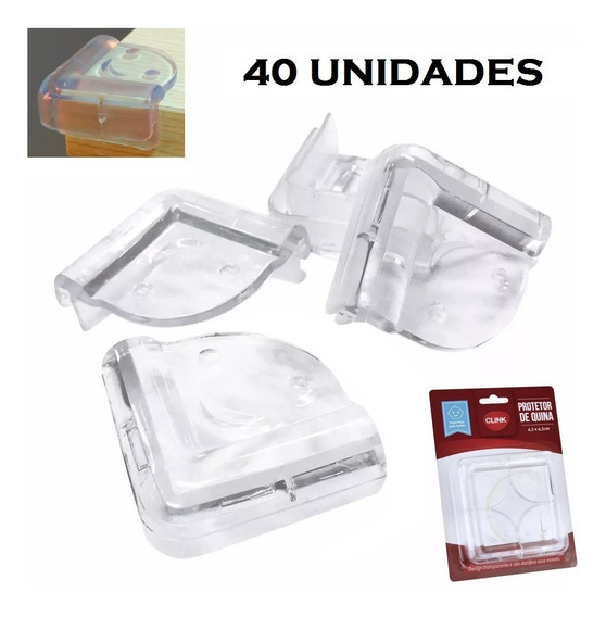Kit 40 Protetores De Quina Silicone Mesa Para Bebês - Clink