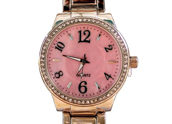 Relógio Feminino Barato Prata E Rosa Luxo Casual Moderno