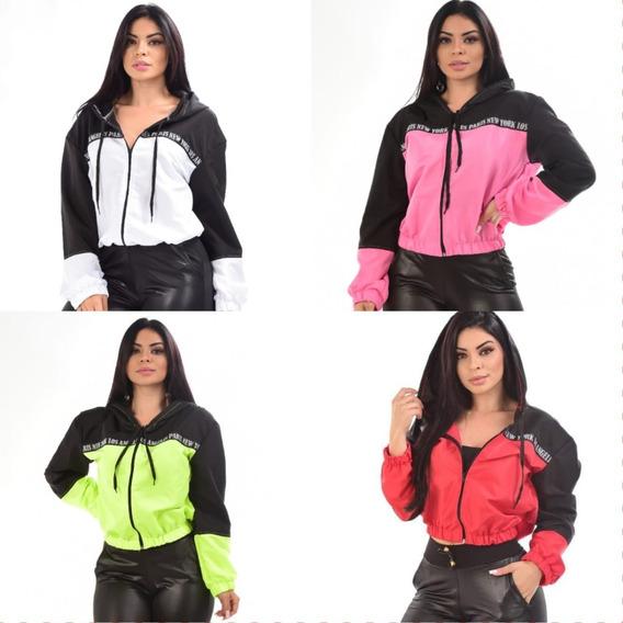 7 Corta Vento Feminino Jaqueta Com Capuz Tactel Promoção