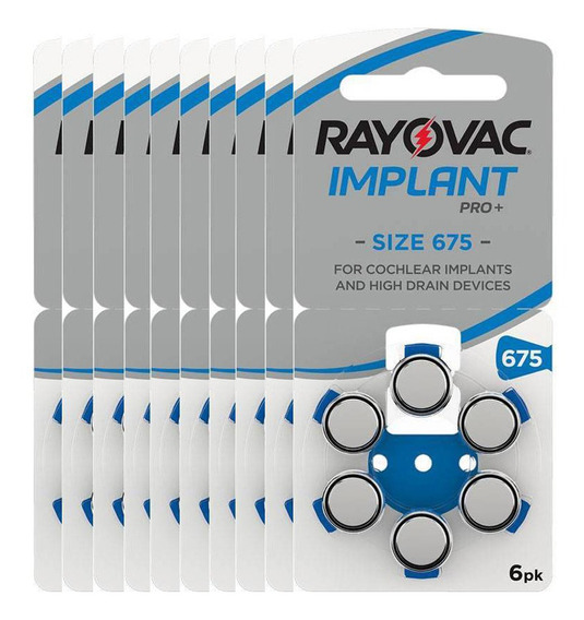 60 Pilhas Rayovac Tam 675 Para Implante Coclear