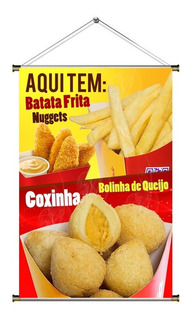 Banner De Batata Frita, Mini Coxinha E Nuggets - 60x90cm