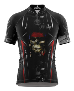 Camisa Ciclista Spartan New M/ C Ref 01 ( Caveira ) Uv50+