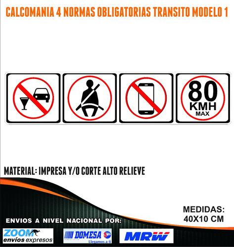 Imagen 1 de 6 de Normas Obligatorias Transito. Vinil De Alta Calidad
